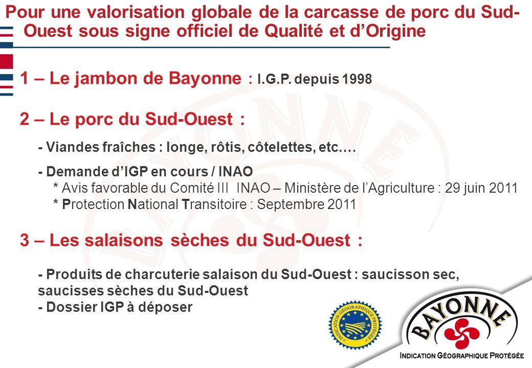 Pour une valorisation globale de la carcasse de porc du Sud- Ouest sous signe officiel de Qualité et d'Origine 1 – Le jambon de Bayonne : I.G.P.
