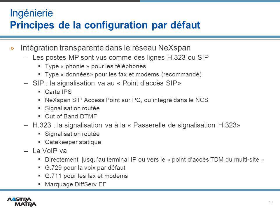 10 Ingénierie Principes de la configuration par défaut »Intégration transparente dans le réseau NeXspan –Les postes MP sont vus comme des lignes H.323 ou SIP  Type « phonie » pour les téléphones  Type « données» pour les fax et modems (recommandé) –SIP : la signalisation va au « Point d'accès SIP»  Carte IPS  NeXspan SIP Access Point sur PC, ou intégré dans le NCS  Signalisation routée  Out of Band DTMF –H.323 : la signalisation va à la « Passerelle de signalisation H.323»  Signalisation routée  Gatekeeper statique –La VoIP va  Directement jusqu'au terminal IP ou vers le « point d'accès TDM du multi-site »  G.729 pour la voix par défaut  G.711 pour les fax et modems  Marquage DiffServ EF