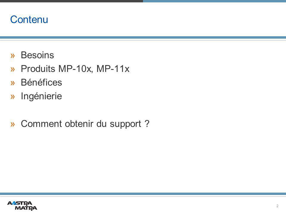 2 Contenu »Besoins »Produits MP-10x, MP-11x »Bénéfices »Ingénierie »Comment obtenir du support ?
