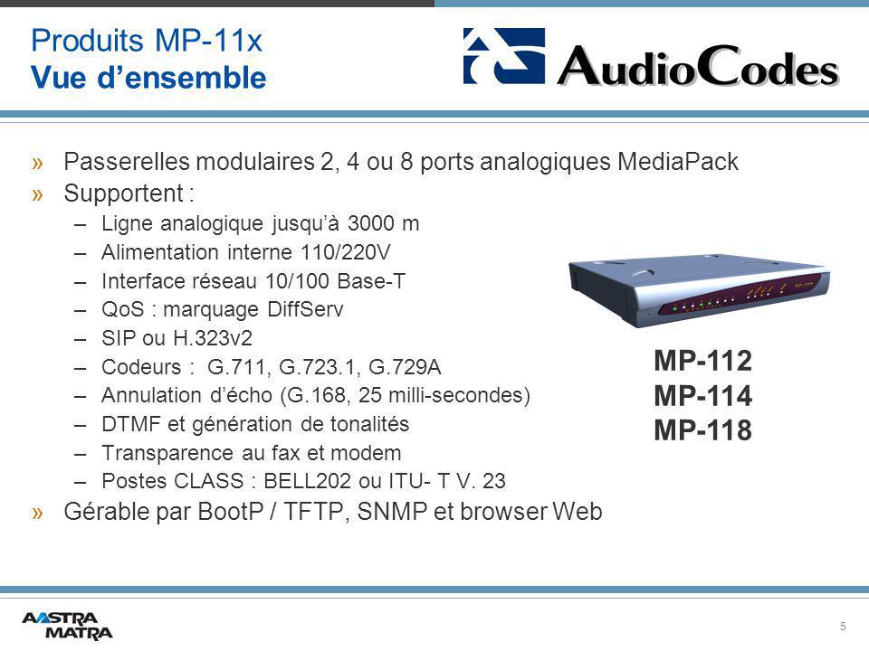 5 Produits MP-11x Vue d'ensemble »Passerelles modulaires 2, 4 ou 8 ports analogiques MediaPack »Supportent : –Ligne analogique jusqu'à 3000 m –Alimentation interne 110/220V –Interface réseau 10/100 Base-T –QoS : marquage DiffServ –SIP ou H.323v2 –Codeurs : G.711, G.723.1, G.729A –Annulation d'écho (G.168, 25 milli-secondes) –DTMF et génération de tonalités –Transparence au fax et modem –Postes CLASS : BELL202 ou ITU- T V.