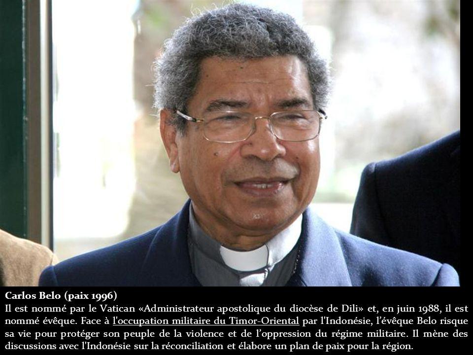 Carlos Belo (paix 1996) Il est nommé par le Vatican «Administrateur apostolique du diocèse de Dili» et, en juin 1988, il est nommé évêque.