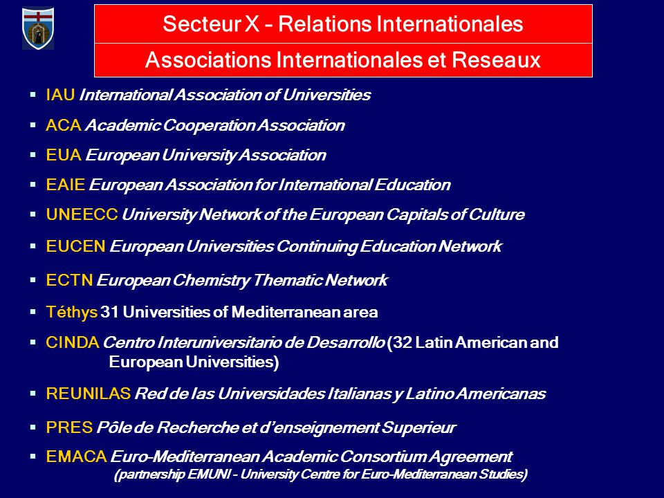  IAU International Association of Universities  ACA Academic Cooperation Association  EUA European University Association  EAIE European Association for International Education  UNEECC University Network of the European Capitals of Culture  EUCEN European Universities Continuing Education Network  ECTN European Chemistry Thematic Network  Téthys 31 Universities of Mediterranean area  CINDA Centro Interuniversitario de Desarrollo (32 Latin American and European Universities)  REUNILAS Red de las Universidades Italianas y Latino Americanas  PRES Pôle de Recherche et d'enseignement Superieur  EMACA Euro-Mediterranean Academic Consortium Agreement (partnership EMUNI - University Centre for Euro-Mediterranean Studies) Associations Internationales et Reseaux Secteur X – Relations Internationales