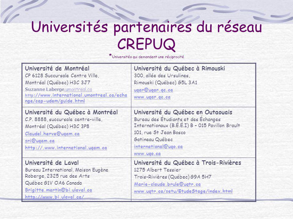 Universités partenaires du réseau CREPUQ * Universités qui demandent une réciprocité Université de Montréal CP 6128 Succursale Centre Ville, Montréal