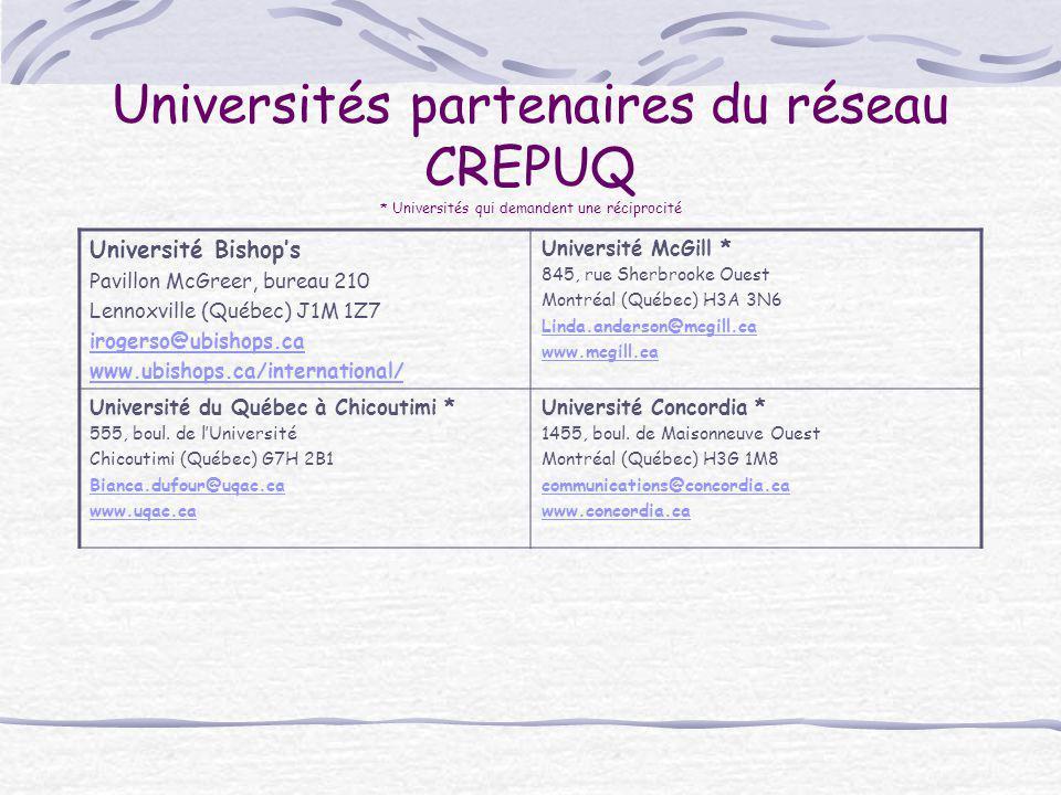 Universités partenaires du réseau CREPUQ * Universités qui demandent une réciprocité Université Bishop's Pavillon McGreer, bureau 210 Lennoxville (Qué