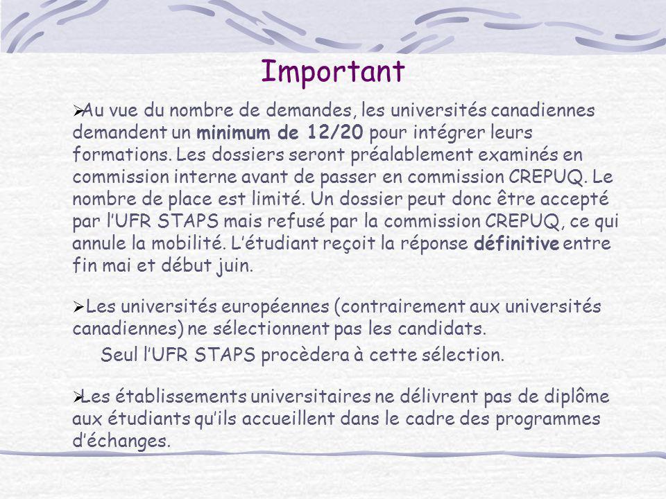 Important  Au vue du nombre de demandes, les universités canadiennes demandent un minimum de 12/20 pour intégrer leurs formations. Les dossiers seron