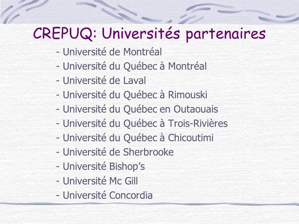 CREPUQ: Universités partenaires - Université de Montréal - Université du Québec à Montréal - Université de Laval - Université du Québec à Rimouski - U