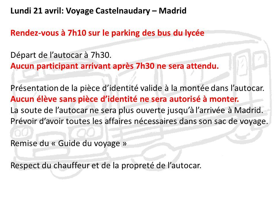 Lundi 21 avril: Voyage Castelnaudary – Madrid Rendez-vous à 7h10 sur le parking des bus du lycée Départ de l'autocar à 7h30. Aucun participant arrivan
