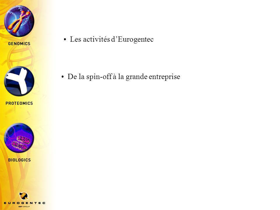 Les activités d'Eurogentec De la spin-off à la grande entreprise