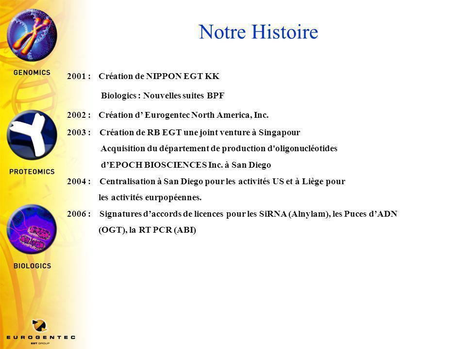 Notre Histoire 2001 : Création de NIPPON EGT KK Biologics : Nouvelles suites BPF 2002 : Création d' Eurogentec North America, Inc.