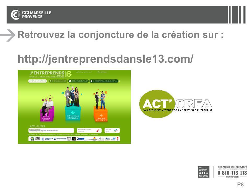 P8 Retrouvez la conjoncture de la création sur : http://jentreprendsdansle13.com/