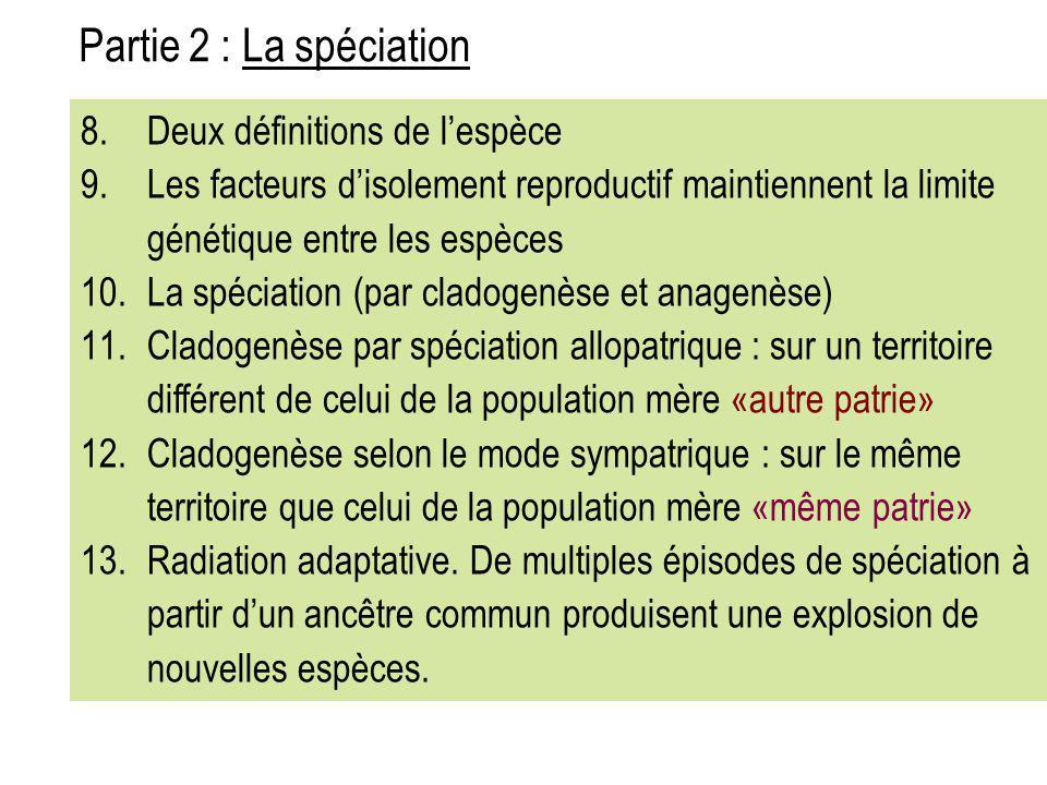 8.Deux définitions de l'espèce 9.Les facteurs d'isolement reproductif maintiennent la limite génétique entre les espèces 10.La spéciation (par cladoge