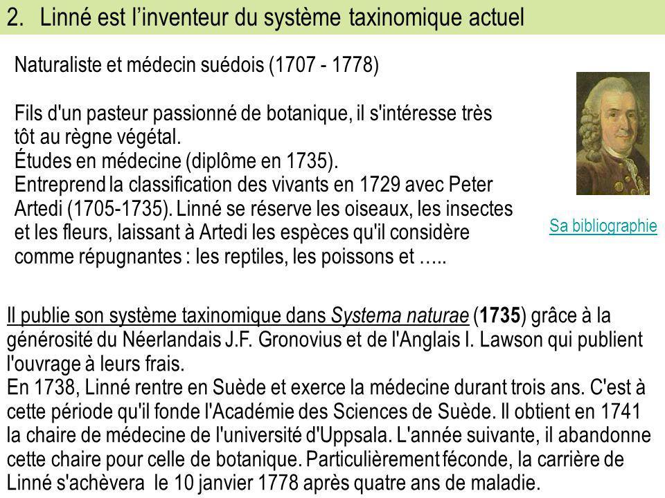 2.Linné est l'inventeur du système taxinomique actuel Naturaliste et médecin suédois (1707 - 1778) Fils d'un pasteur passionné de botanique, il s'inté
