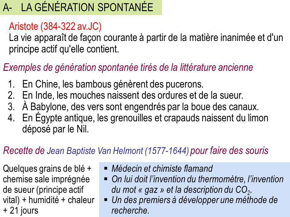 A-LA GÉNÉRATION SPONTANÉE Aristote (384-322 av.JC) La vie apparaît de façon courante à partir de la matière inanimée et d'un principe actif qu'elle co