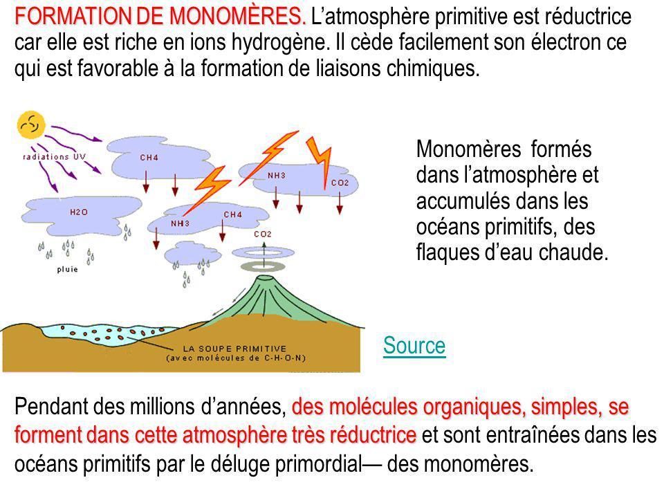FORMATION DE MONOMÈRES. FORMATION DE MONOMÈRES. L'atmosphère primitive est réductrice car elle est riche en ions hydrogène. Il cède facilement son éle