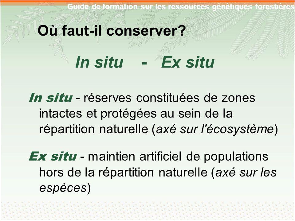 Guide de formation sur les ressources génétiques forestières Où faut-il conserver.