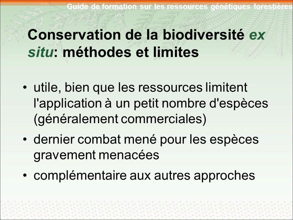 Guide de formation sur les ressources génétiques forestières utile, bien que les ressources limitent l application à un petit nombre d espèces (généralement commerciales) dernier combat mené pour les espèces gravement menacées complémentaire aux autres approches Conservation de la biodiversité ex situ: méthodes et limites