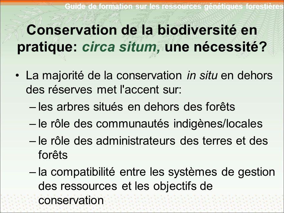 Guide de formation sur les ressources génétiques forestières Conservation de la biodiversité en pratique: circa situm, une nécessité.