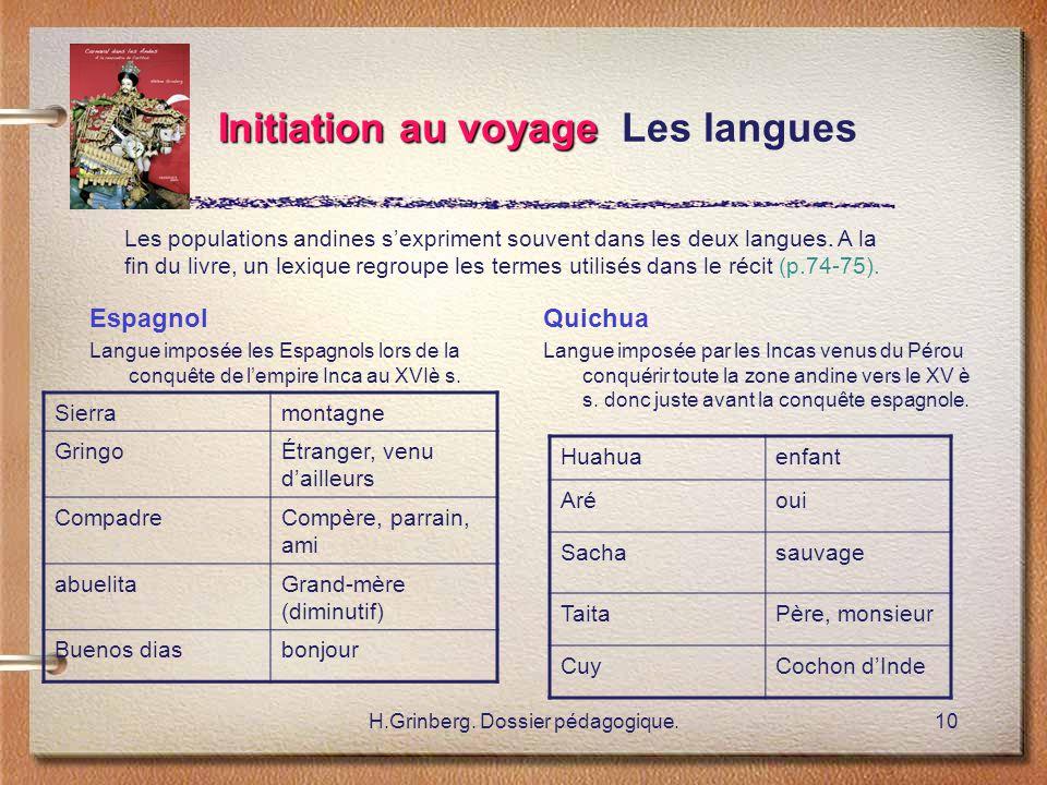 H.Grinberg. Dossier pédagogique.10 Initiation au voyage Initiation au voyage Les langues Espagnol Langue imposée les Espagnols lors de la conquête de