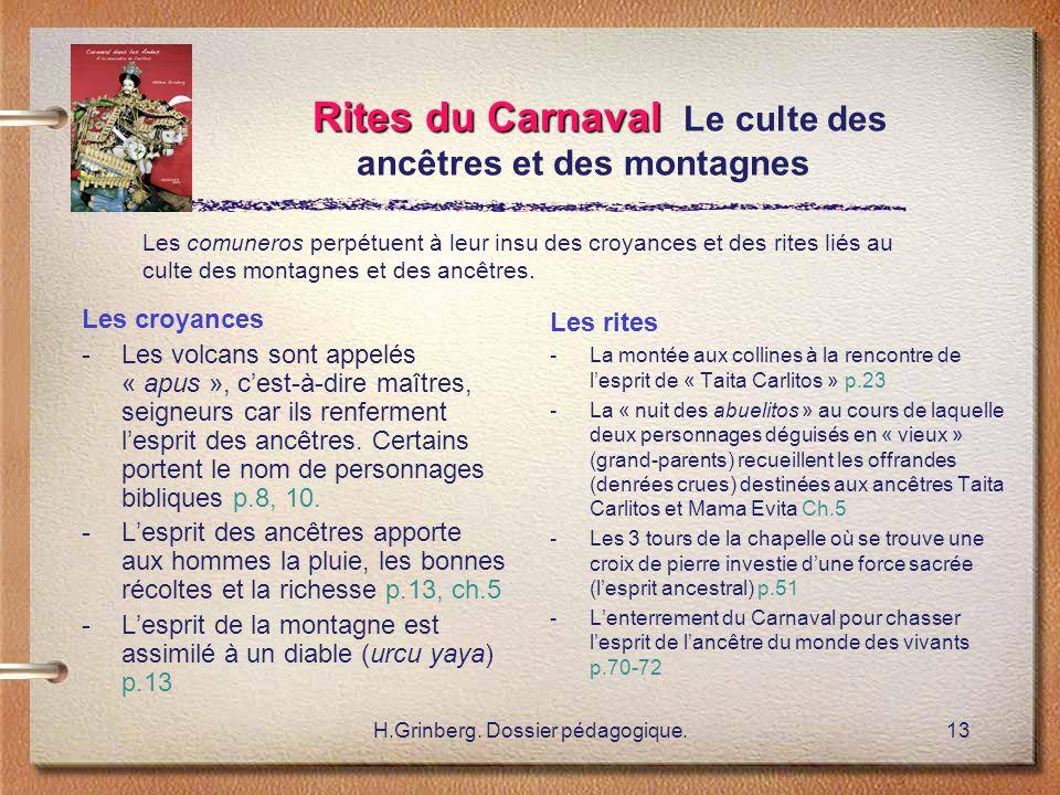 H.Grinberg. Dossier pédagogique.13 Rites du Carnaval Rites du Carnaval Le culte des ancêtres et des montagnes Les croyances -Les volcans sont appelés