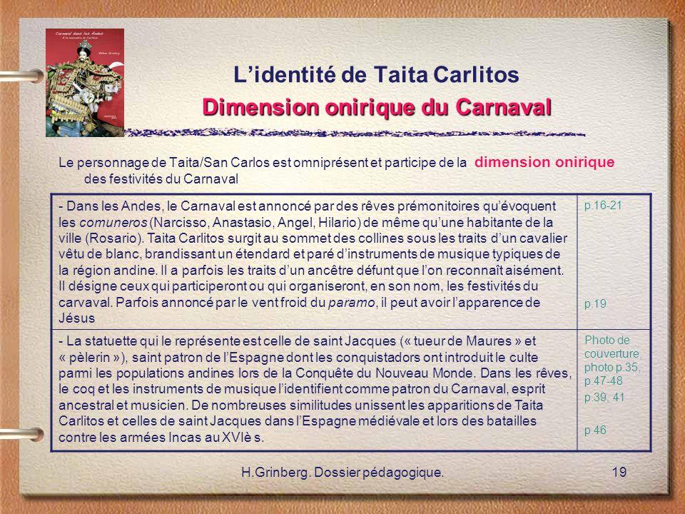 H.Grinberg. Dossier pédagogique.19 Dimension onirique du Carnaval L'identité de Taita Carlitos Dimension onirique du Carnaval Le personnage de Taita/S