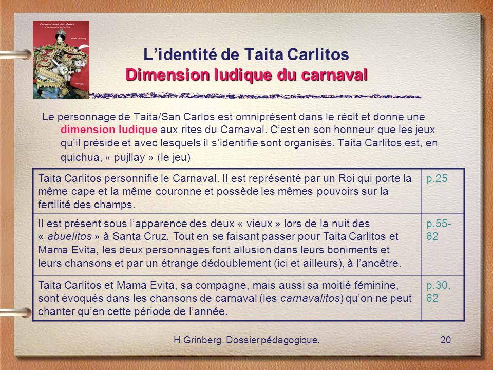 H.Grinberg. Dossier pédagogique.20 Dimension ludique du carnaval L'identité de Taita Carlitos Dimension ludique du carnaval Le personnage de Taita/San