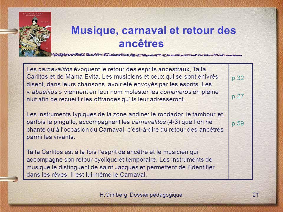 H.Grinberg. Dossier pédagogique.21 Musique, carnaval et retour des ancêtres Les carnavalitos évoquent le retour des esprits ancestraux, Taita Carlitos