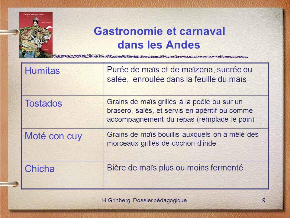 H.Grinberg. Dossier pédagogique.9 Gastronomie et carnaval dans les Andes Humitas Purée de maïs et de maïzena, sucrée ou salée, enroulée dans la feuill