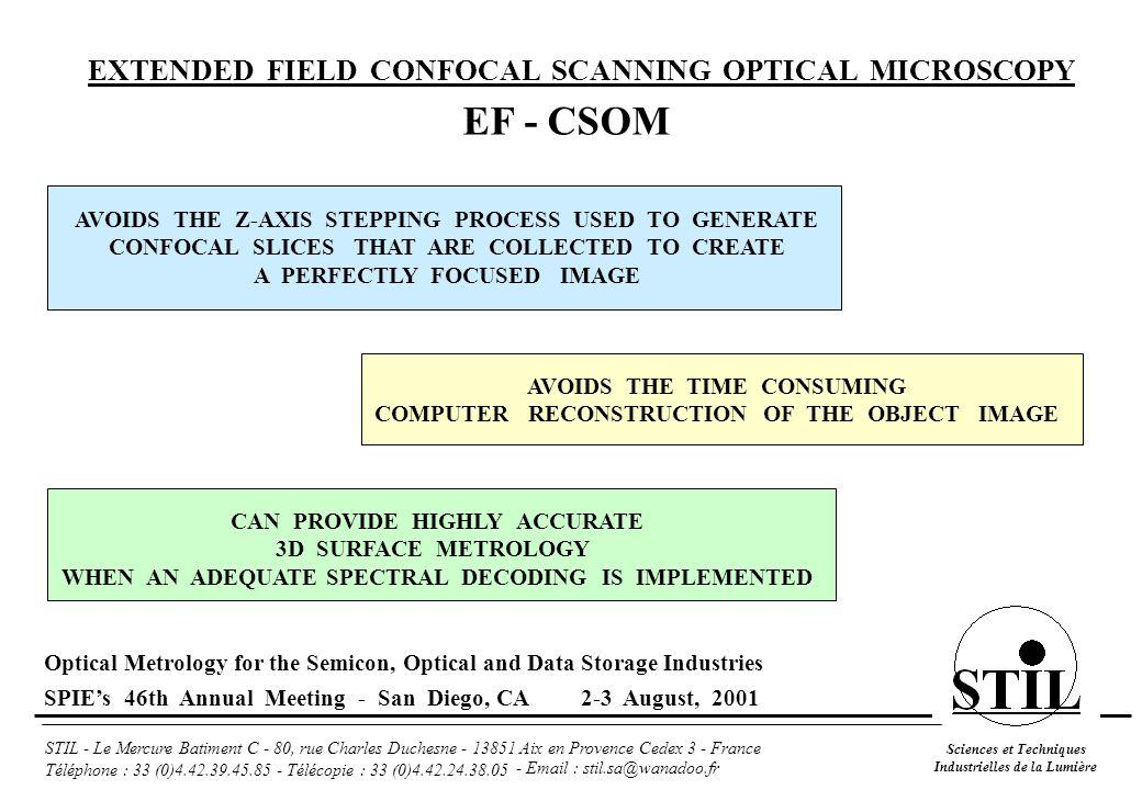 Sciences et Techniques Industrielles de la Lumière STIL - Le Mercure Batiment C - 80, rue Charles Duchesne - 13851 Aix en Provence Cedex 3 - France Téléphone : 33 (0)4.42.39.45.85 - Télécopie : 33 (0)4.42.24.38.05 Holographic Transmission diffraction grating (ZnSe) CHR 150 Optical Sensor 80 µm depth of field optical pen 3D surface mapping Height measurement Photorealistic rendering Intensity measurement Optical Metrology for the Semicon, Optical and Data Storage Industries SPIE's 46th Annual Meeting - San Diego, CA 2-3 August, 2001