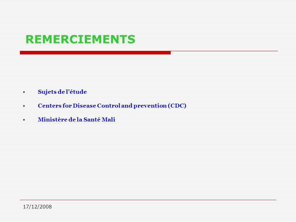 17/12/2008 Sujets de l'étude Centers for Disease Control and prevention (CDC) Ministère de la Santé Mali REMERCIEMENTS