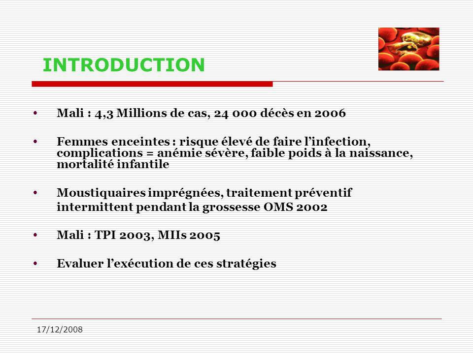 17/12/2008 INTRODUCTION  Mali : 4,3 Millions de cas, 24 000 décès en 2006  Femmes enceintes : risque élevé de faire l'infection, complications = ané