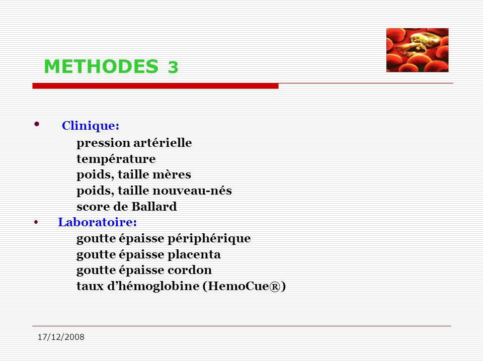 17/12/2008 METHODES 3  Clinique: pression artérielle température poids, taille mères poids, taille nouveau-nés score de Ballard  Laboratoire: goutte