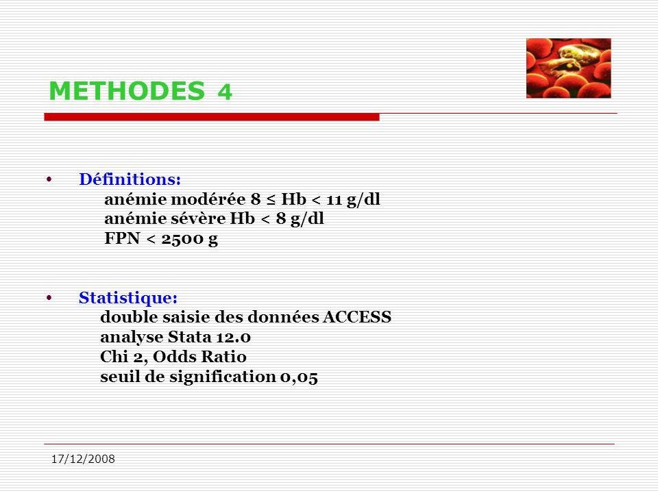 17/12/2008 METHODES 4  Définitions: anémie modérée 8 ≤ Hb < 11 g/dl anémie sévère Hb < 8 g/dl FPN < 2500 g  Statistique: double saisie des données A