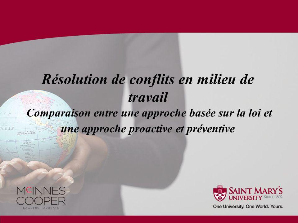 Résolution de conflits en milieu de travail Comparaison entre une approche basée sur la loi et une approche proactive et préventive