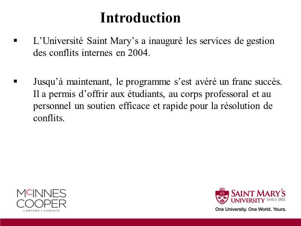  L'Université Saint Mary's a inauguré les services de gestion des conflits internes en 2004.