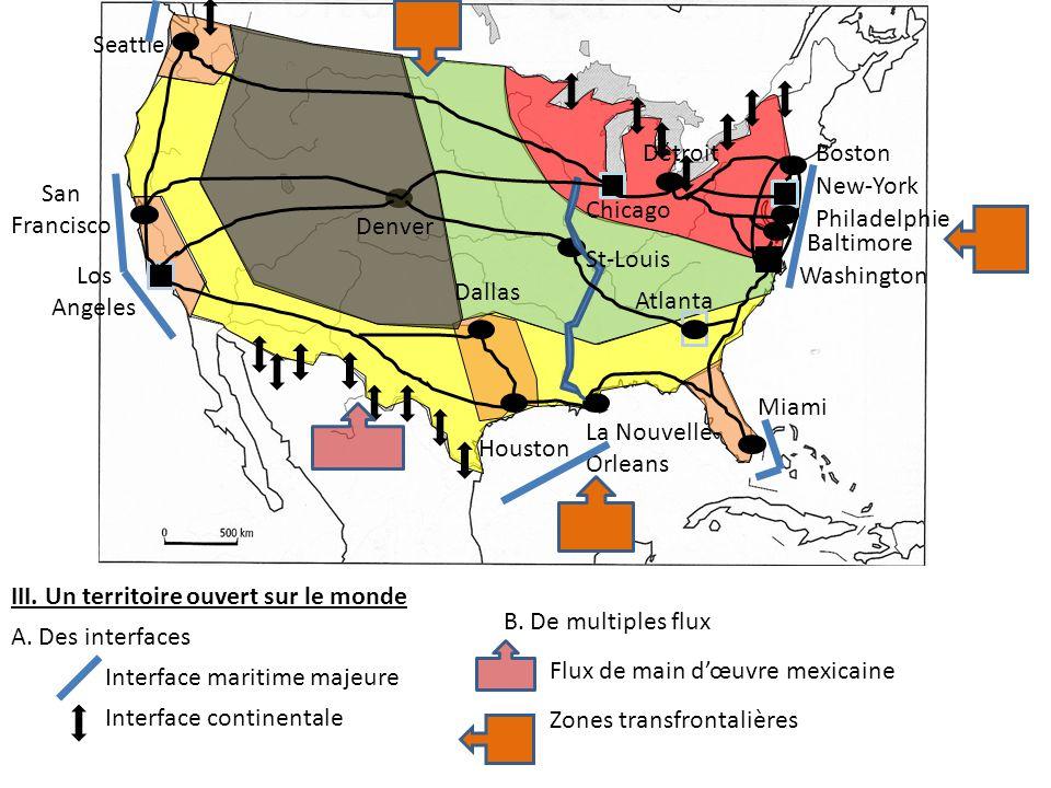 B.De multiples flux Flux de main d'œuvre mexicaine Zones transfrontalières III.