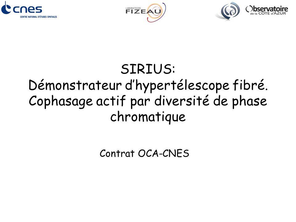 SIRIUS: Démonstrateur d'hypertélescope fibré. Cophasage actif par diversité de phase chromatique Contrat OCA-CNES
