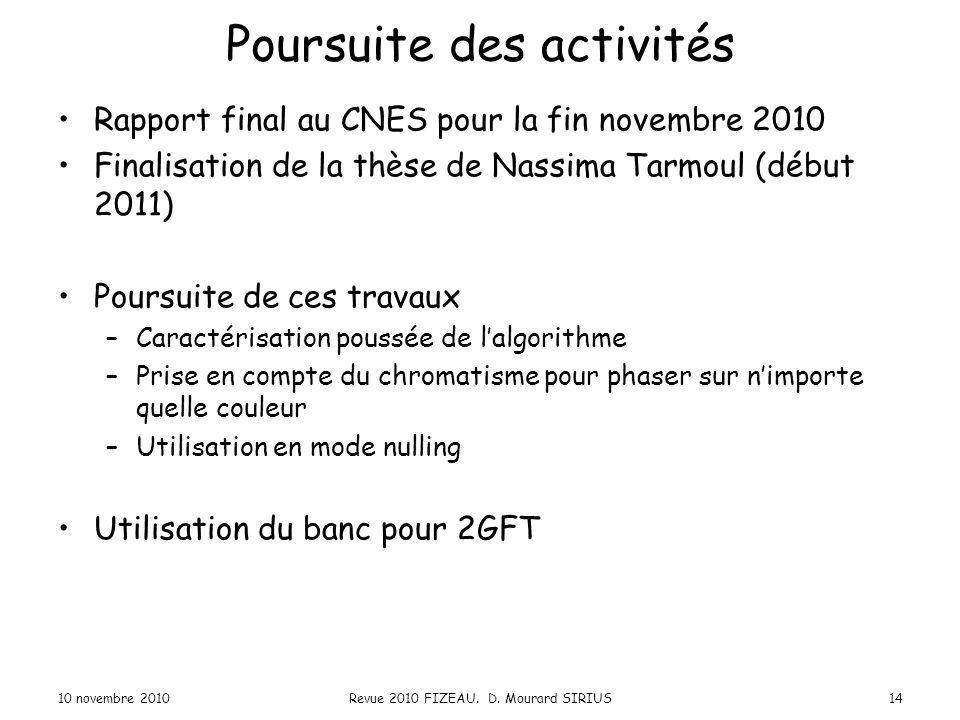 Poursuite des activités Rapport final au CNES pour la fin novembre 2010 Finalisation de la thèse de Nassima Tarmoul (début 2011) Poursuite de ces trav