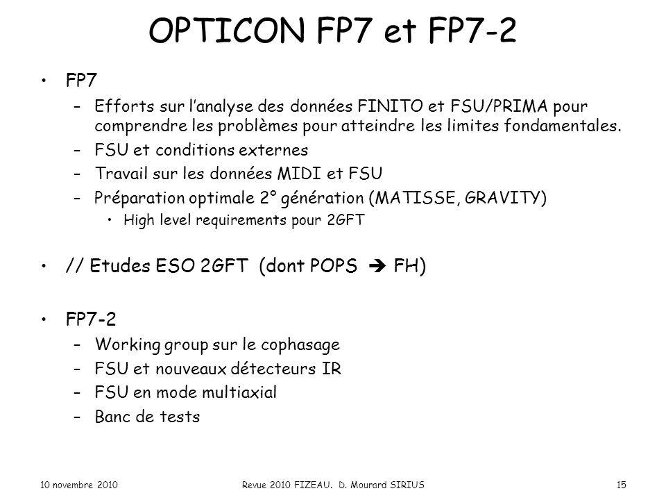 OPTICON FP7 et FP7-2 FP7 –Efforts sur l'analyse des données FINITO et FSU/PRIMA pour comprendre les problèmes pour atteindre les limites fondamentales
