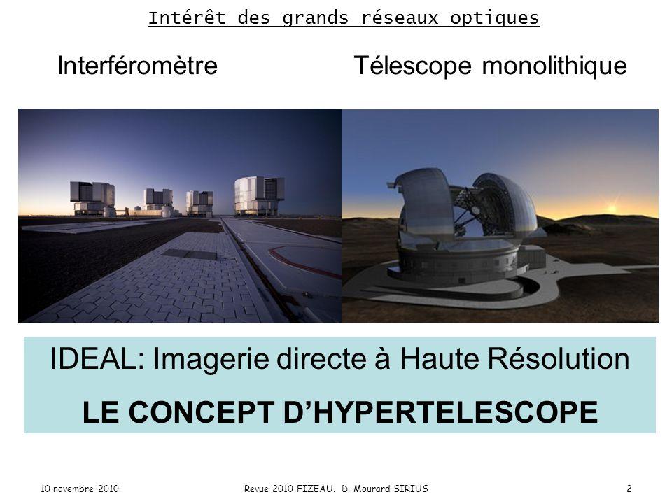 Interféromètre Télescope monolithique Intérêt des grands réseaux optiques IDEAL: Imagerie directe à Haute Résolution LE CONCEPT D'HYPERTELESCOPE 2Revu