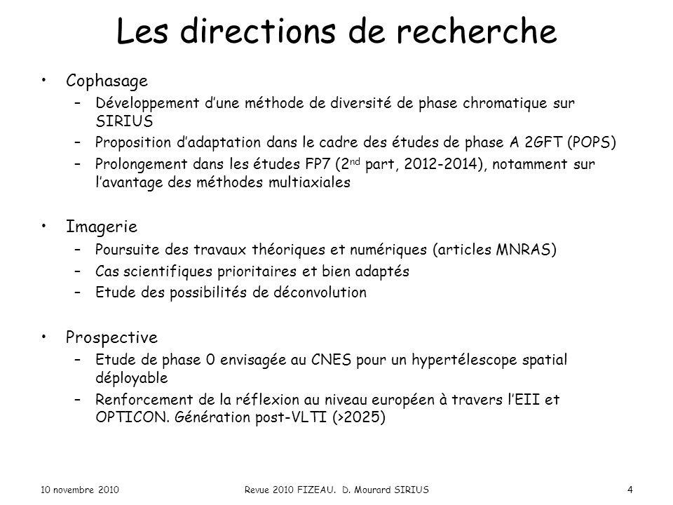 Les directions de recherche Cophasage –Développement d'une méthode de diversité de phase chromatique sur SIRIUS –Proposition d'adaptation dans le cadr