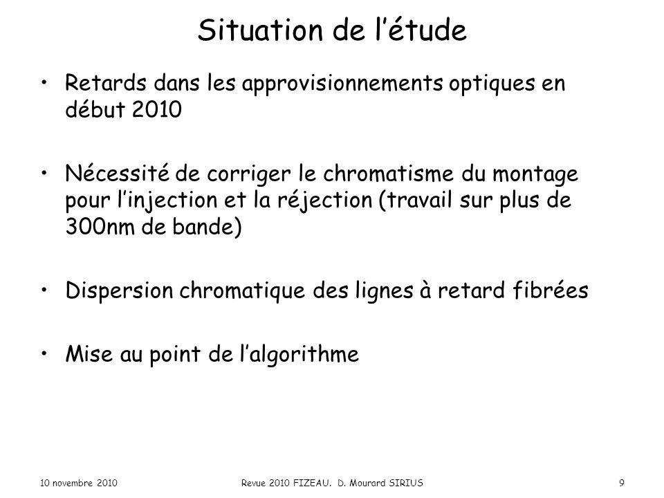 Situation de l'étude Retards dans les approvisionnements optiques en début 2010 Nécessité de corriger le chromatisme du montage pour l'injection et la