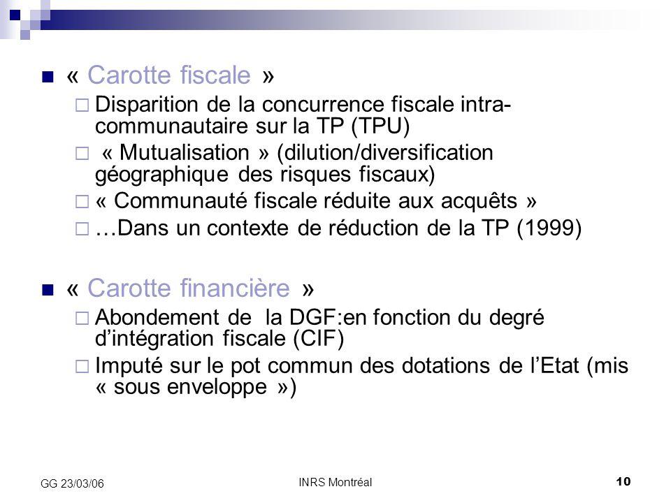 INRS Montréal10 GG 23/03/06 « Carotte fiscale »  Disparition de la concurrence fiscale intra- communautaire sur la TP (TPU)  « Mutualisation » (dilu