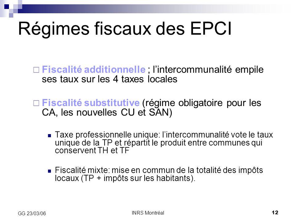 INRS Montréal12 GG 23/03/06 Régimes fiscaux des EPCI  Fiscalité additionnelle ; l'intercommunalité empile ses taux sur les 4 taxes locales  Fiscalit