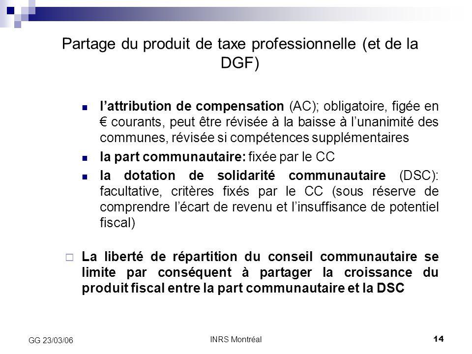 INRS Montréal14 GG 23/03/06 Partage du produit de taxe professionnelle (et de la DGF) l'attribution de compensation (AC); obligatoire, figée en € cour