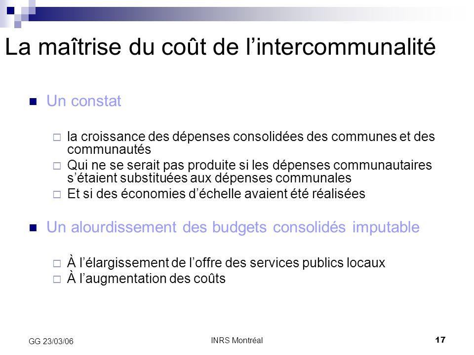 INRS Montréal17 GG 23/03/06 La maîtrise du coût de l'intercommunalité Un constat  la croissance des dépenses consolidées des communes et des communau