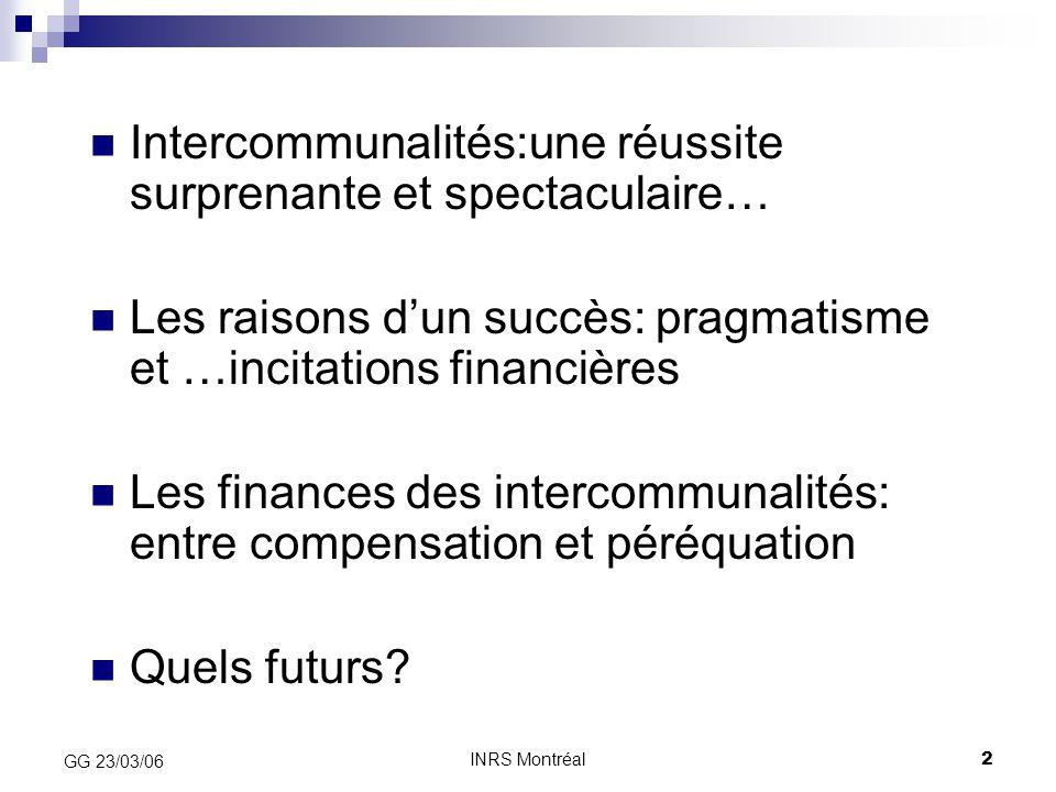 INRS Montréal2 GG 23/03/06 Intercommunalités:une réussite surprenante et spectaculaire… Les raisons d'un succès: pragmatisme et …incitations financièr