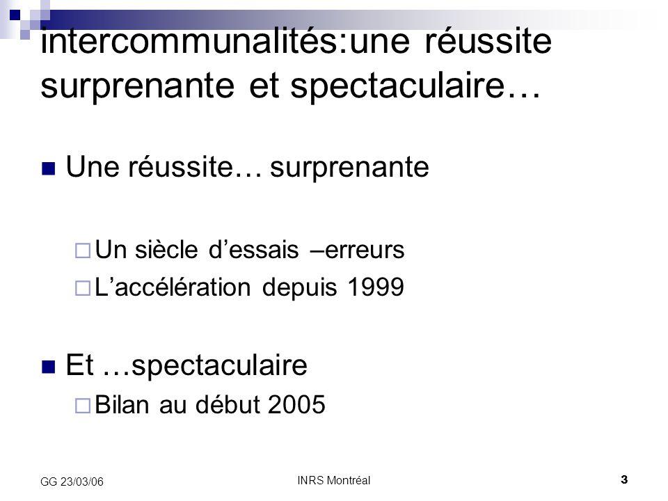 INRS Montréal14 GG 23/03/06 Partage du produit de taxe professionnelle (et de la DGF) l'attribution de compensation (AC); obligatoire, figée en € courants, peut être révisée à la baisse à l'unanimité des communes, révisée si compétences supplémentaires la part communautaire: fixée par le CC la dotation de solidarité communautaire (DSC): facultative, critères fixés par le CC (sous réserve de comprendre l'écart de revenu et l'insuffisance de potentiel fiscal)  La liberté de répartition du conseil communautaire se limite par conséquent à partager la croissance du produit fiscal entre la part communautaire et la DSC