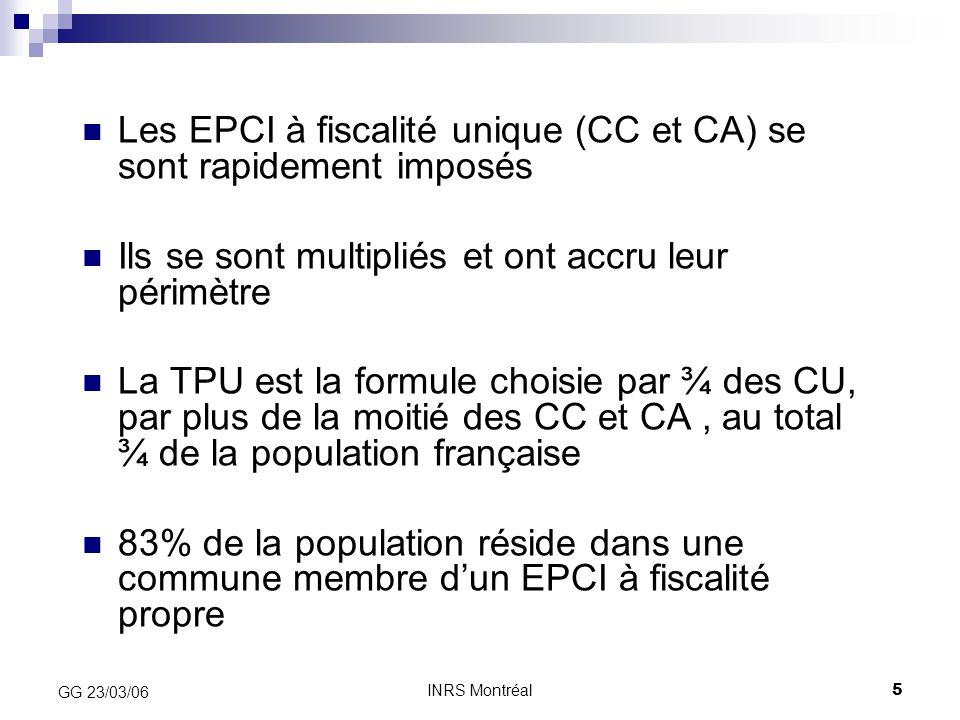 INRS Montréal5 GG 23/03/06 Les EPCI à fiscalité unique (CC et CA) se sont rapidement imposés Ils se sont multipliés et ont accru leur périmètre La TPU