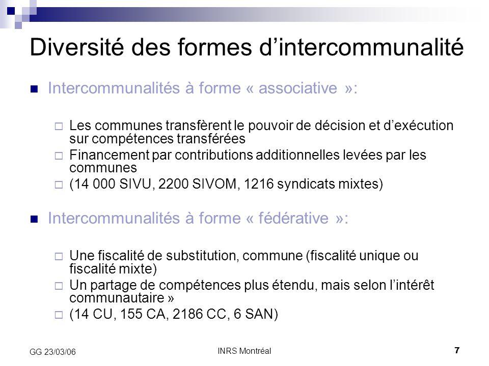 INRS Montréal7 GG 23/03/06 Diversité des formes d'intercommunalité Intercommunalités à forme « associative »:  Les communes transfèrent le pouvoir de