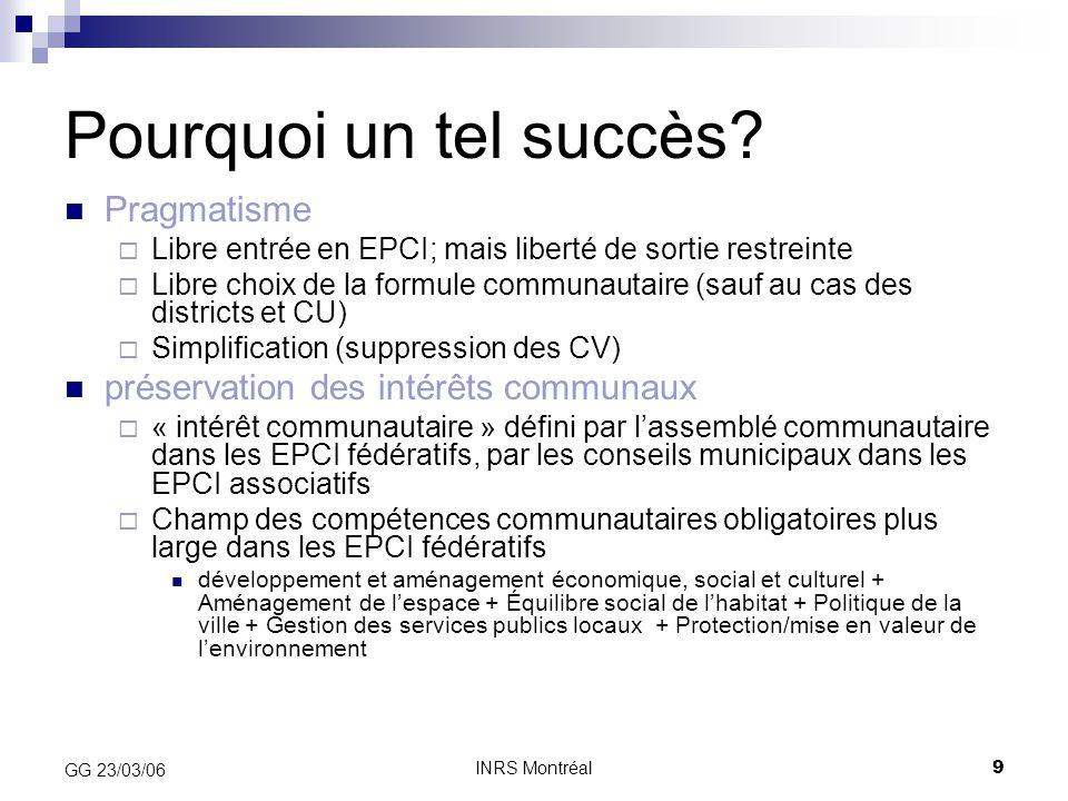 INRS Montréal10 GG 23/03/06 « Carotte fiscale »  Disparition de la concurrence fiscale intra- communautaire sur la TP (TPU)  « Mutualisation » (dilution/diversification géographique des risques fiscaux)  « Communauté fiscale réduite aux acquêts »  …Dans un contexte de réduction de la TP (1999) « Carotte financière »  Abondement de la DGF:en fonction du degré d'intégration fiscale (CIF)  Imputé sur le pot commun des dotations de l'Etat (mis « sous enveloppe »)